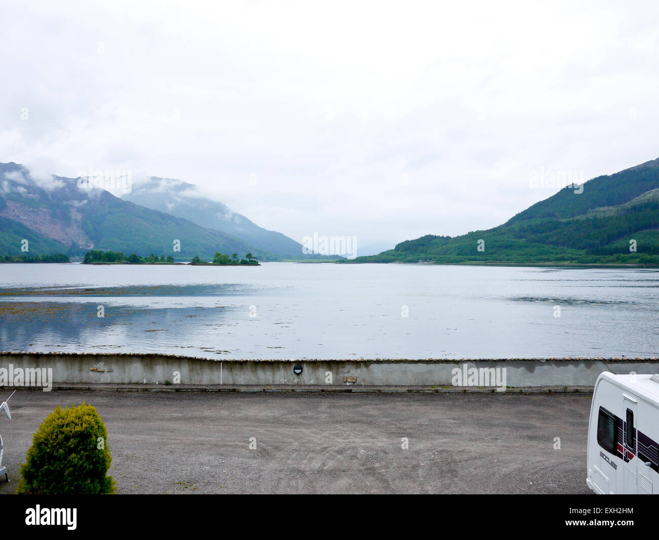 Looking across Loch Leven and  mist covered mountains from Invercoe,Glencoe,Argyll, Scotland, UK. - Stock Image