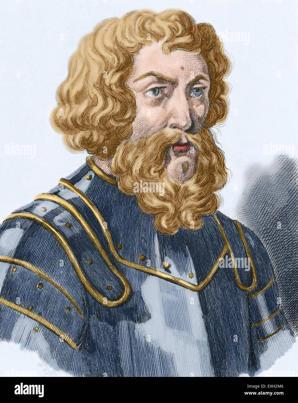 Dmitry Donskoy (1350-1389). Grand Prince of Moscow. Engraving. Colored. - Stock Image