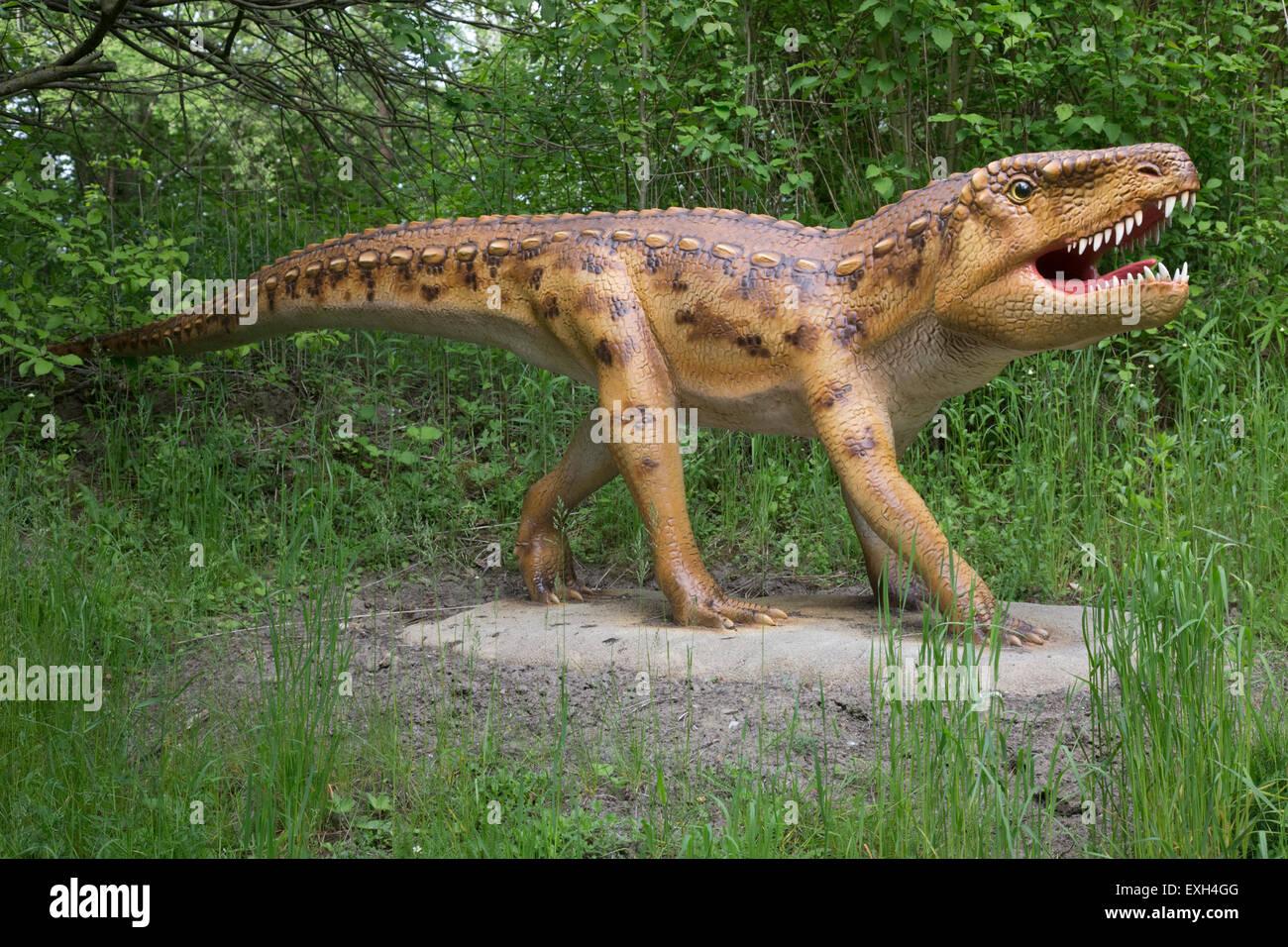 Ornithosuchus extinct Archsaur or bird crocodile Dinosaurier Park Triassic period Germany - Stock Image