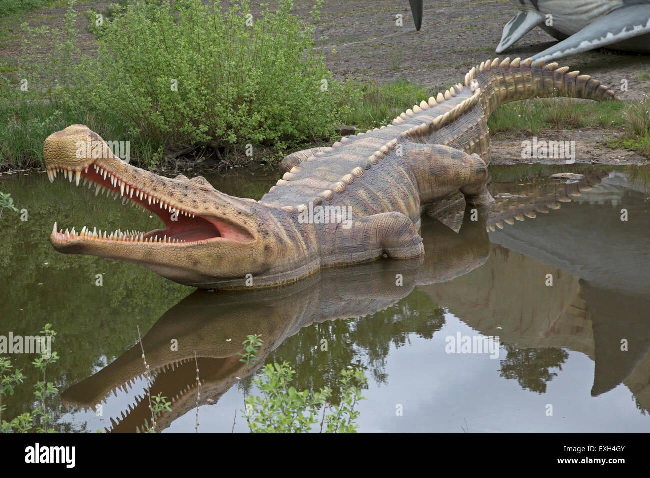 Sarcosuchus an extinct giant crocodile of Cretaceous Dinosaurier Park Germany - Stock Image