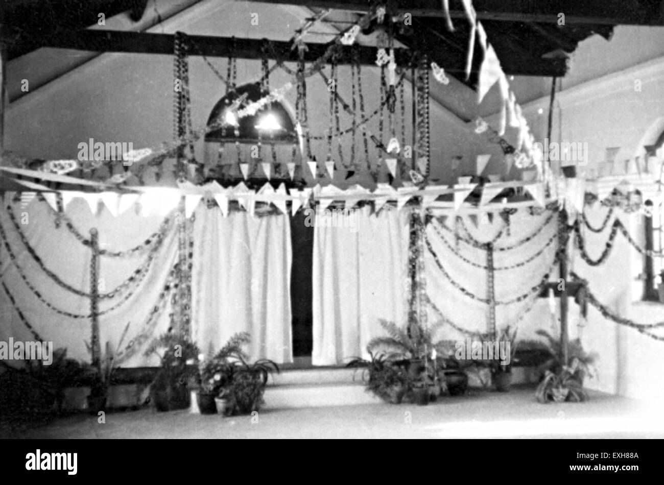Christmas decorations in Latehar Hostel, India, 1956 1 Stock Photo ...