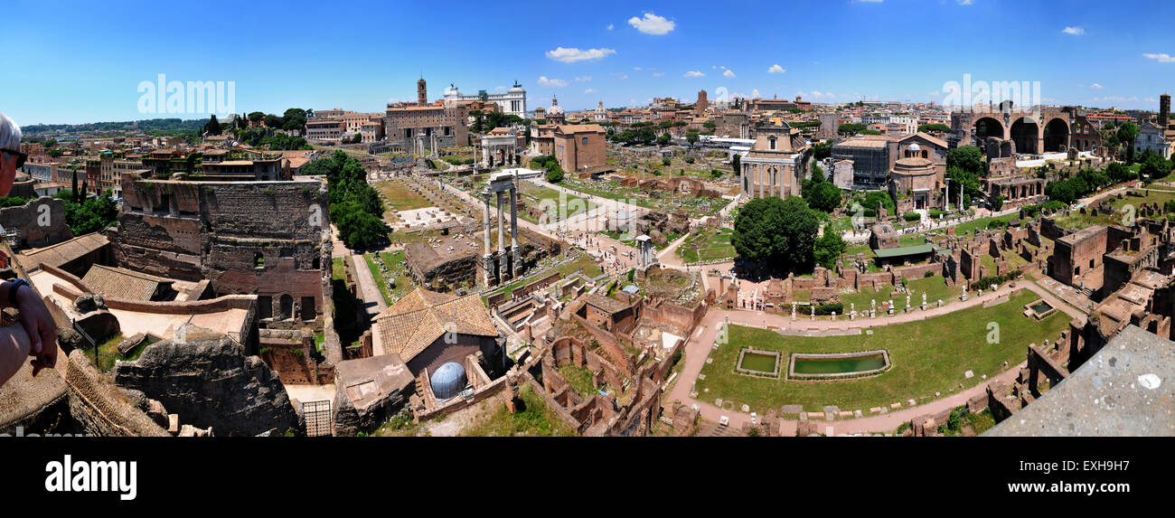 Panoramic view of the Roman Forum as seen from The Palatine Hill, Rome Italy. Picture by Paul Heyes, Tuesday June - Stock Image