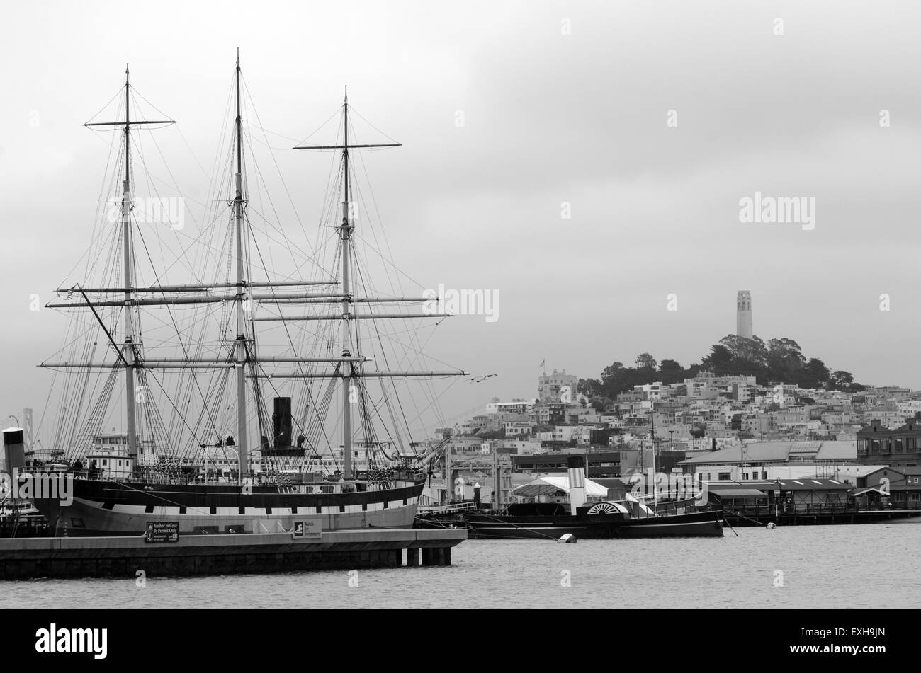 SAN FRANCISCO - MAY 17 2015:Hyde Street Pier in Fisherman's Wharf.Hyde Street Pier includes a fleet of historic Stock Photo