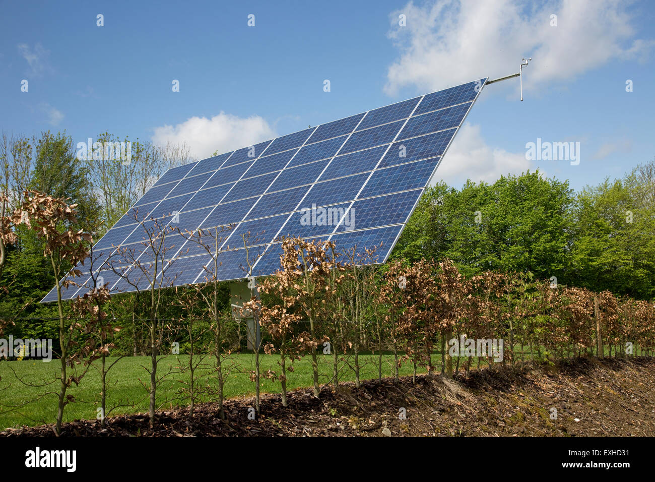 Dual axis 10 kW solar PV tracking array Habay Arlon Luxembourg - Stock Image