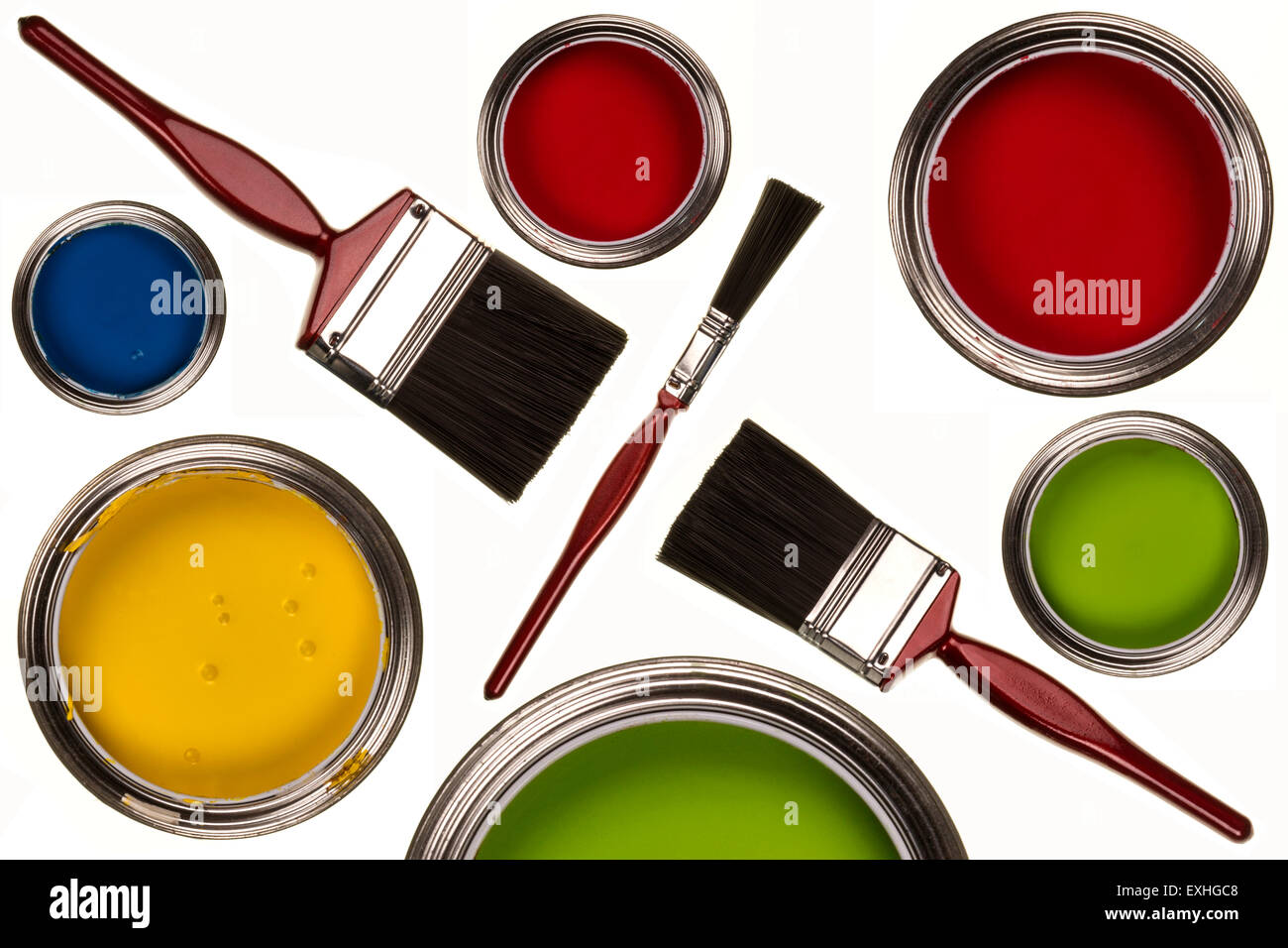 Selection of paints and paintbrushes - isolated - Stock Image