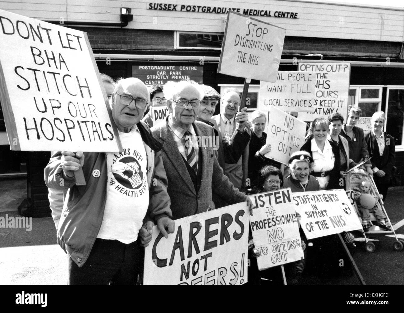 Protest against NHS cuts outside the Sussex Postgraduate medical Centre Brighton 1990 - Stock Image
