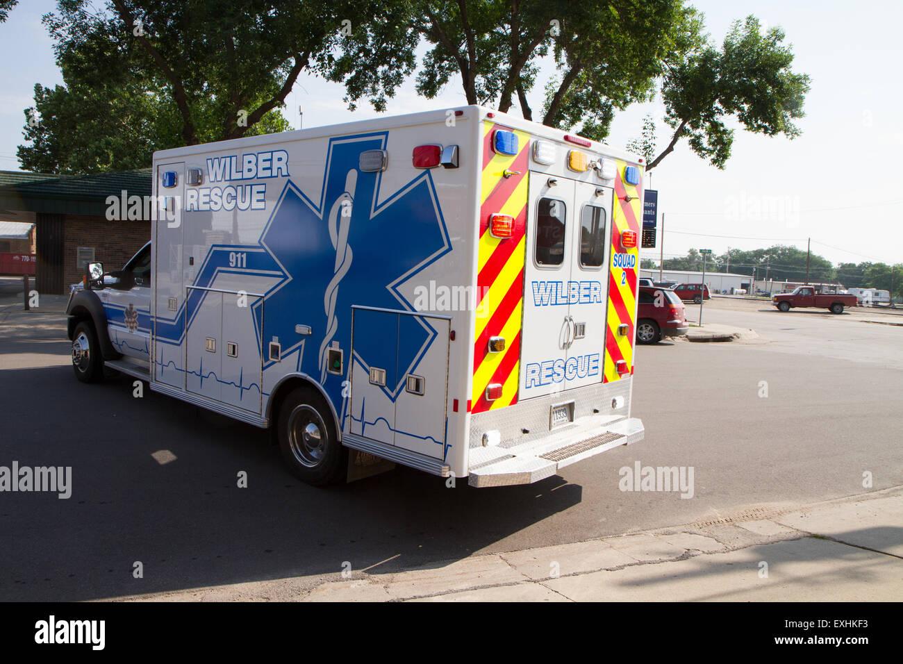 Ambulance, rural volunteer fire department, equipment - Stock Image