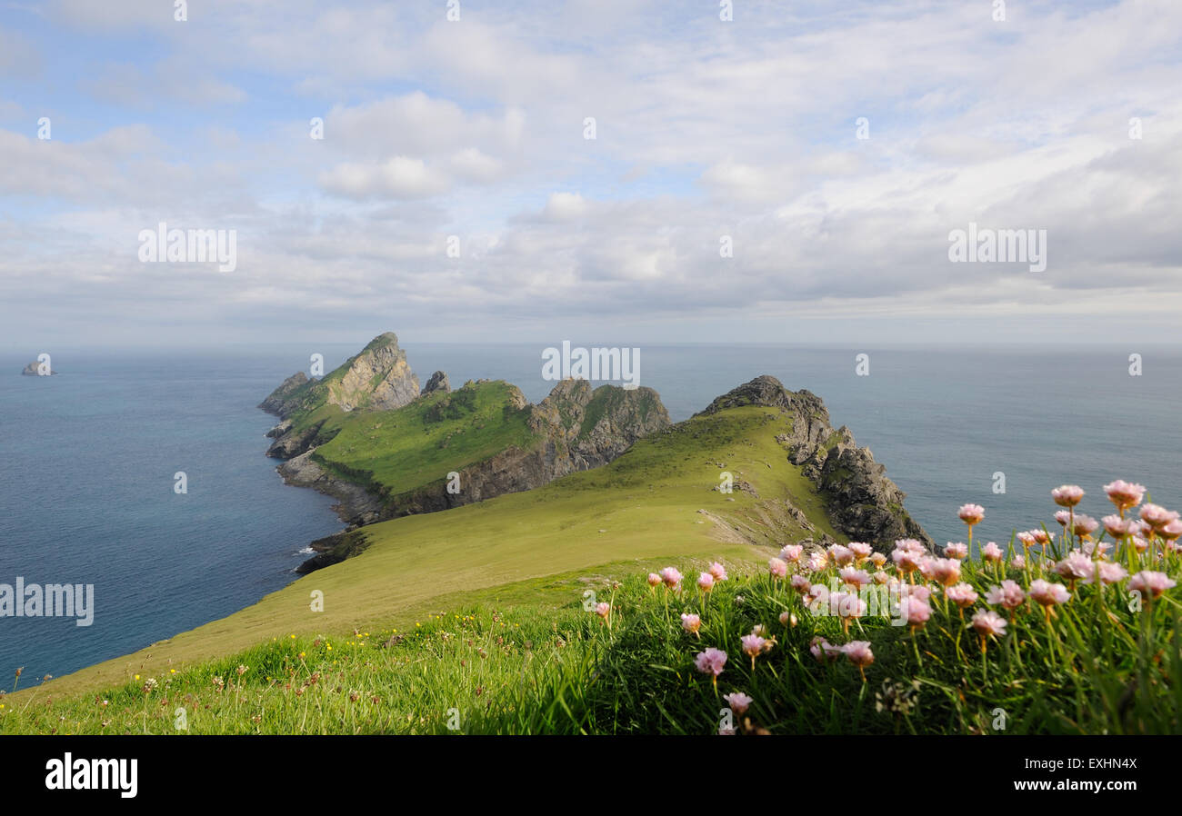 The island of Dun from the southern point of Hirta. These two islands are part of the St Kilda archipelago.  Hirta, - Stock Image