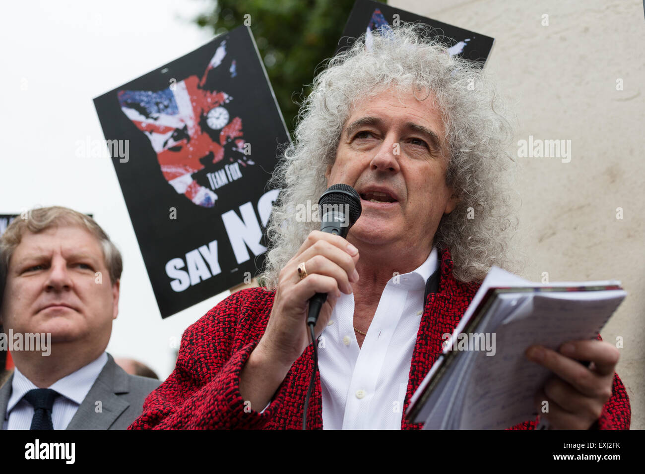 London, UK. 14th July 2015. Brian May speaks at a rally to protest against proposed changes to the Hunting Act, - Stock Image