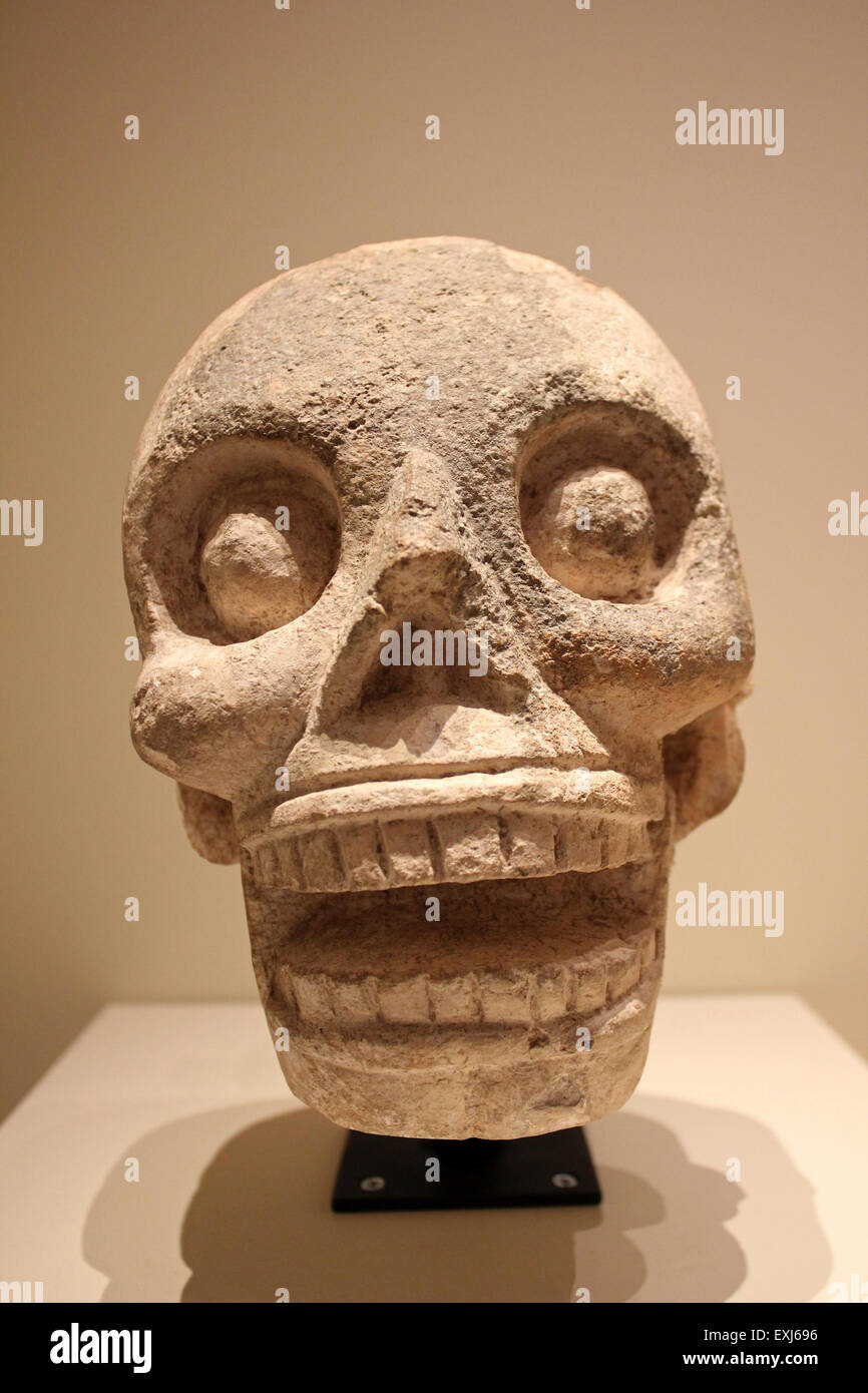 Skull Sculpture With Tenon Early Post-classic Period AD 900-1250 Unknown Provenance - Stock Image