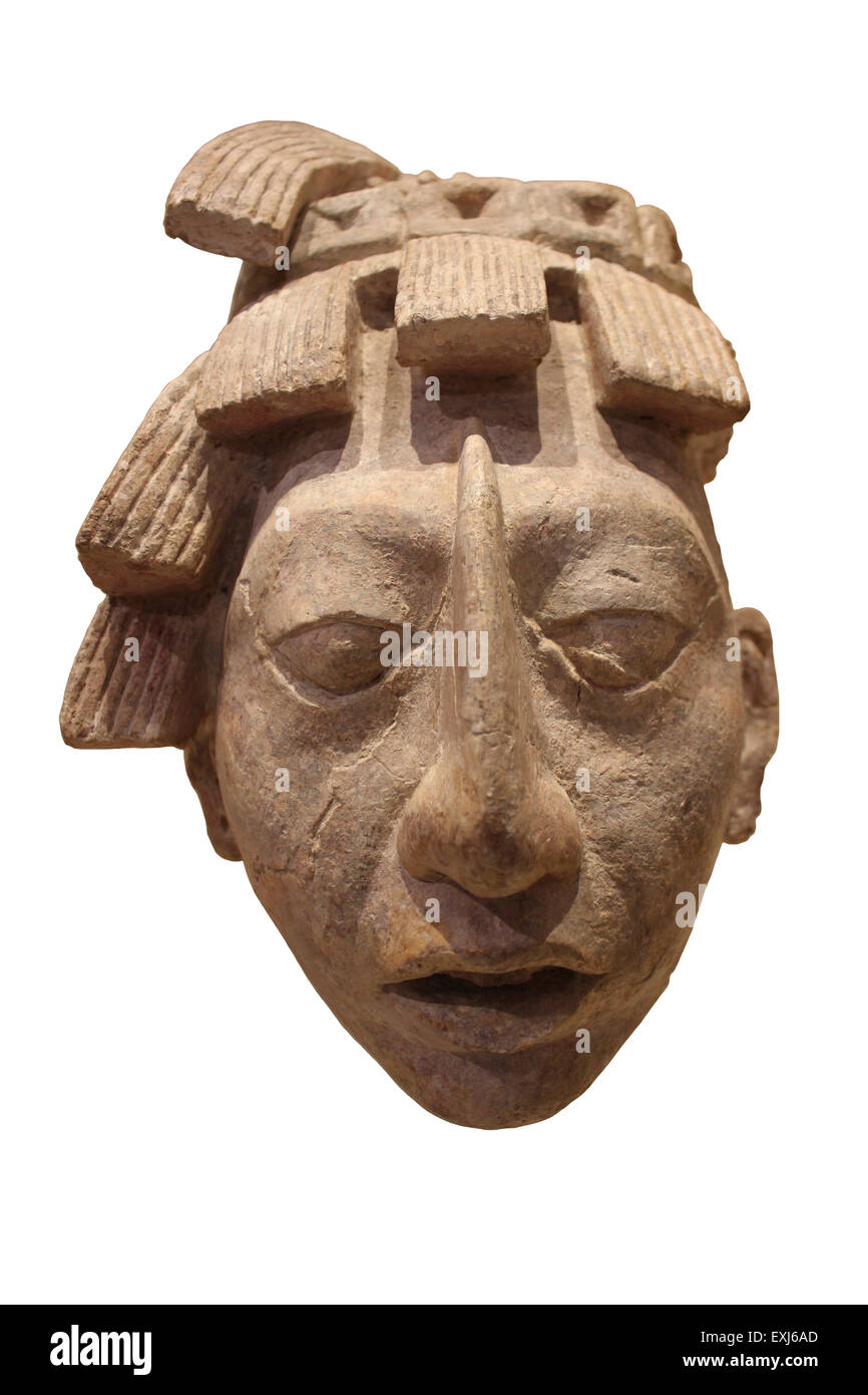Stucco Head Of Pakal Late Classic Period AD 600-900 Palenque, Chiapas, Mexico - Stock Image