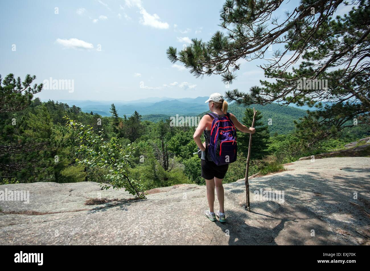 Hiking to the summit of Poke-O-Moonshine mountain - Stock Image