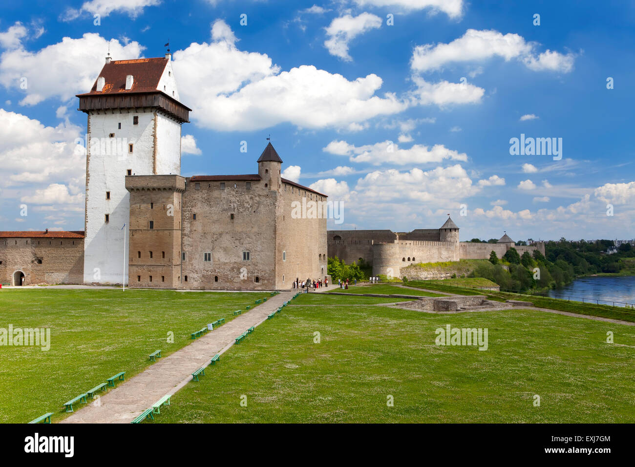Two ancient fortresses on the parties from the river which is border. Narva, Estonia and Ivangorod behind the river, - Stock Image