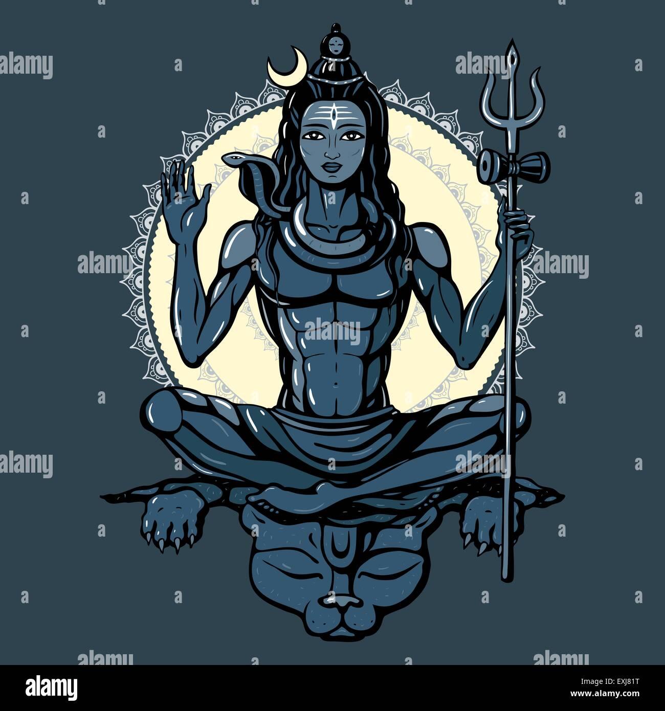 Hindu god Shiva - Stock Vector