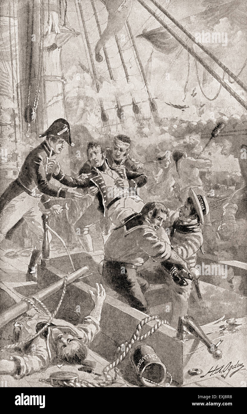 """Captain James Lawrence uttering his  last words or """"dying command"""" """"Don't give up the ship!"""" after being mortally wounded whilst commanding The USS Chesapeake in a single-ship action against HMS Shannon commanded by Philip Broke during the War of 1812.  James Lawrence, 1781 –1813.  American naval officer. . Stock Photo"""