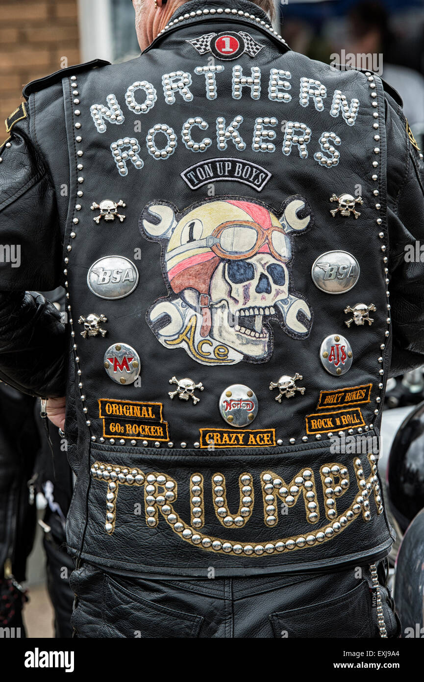 Biker Vest Patches >> Rockers leather jacket covered in studs, patches and badges. Ton up Stock Photo: 85225004 - Alamy