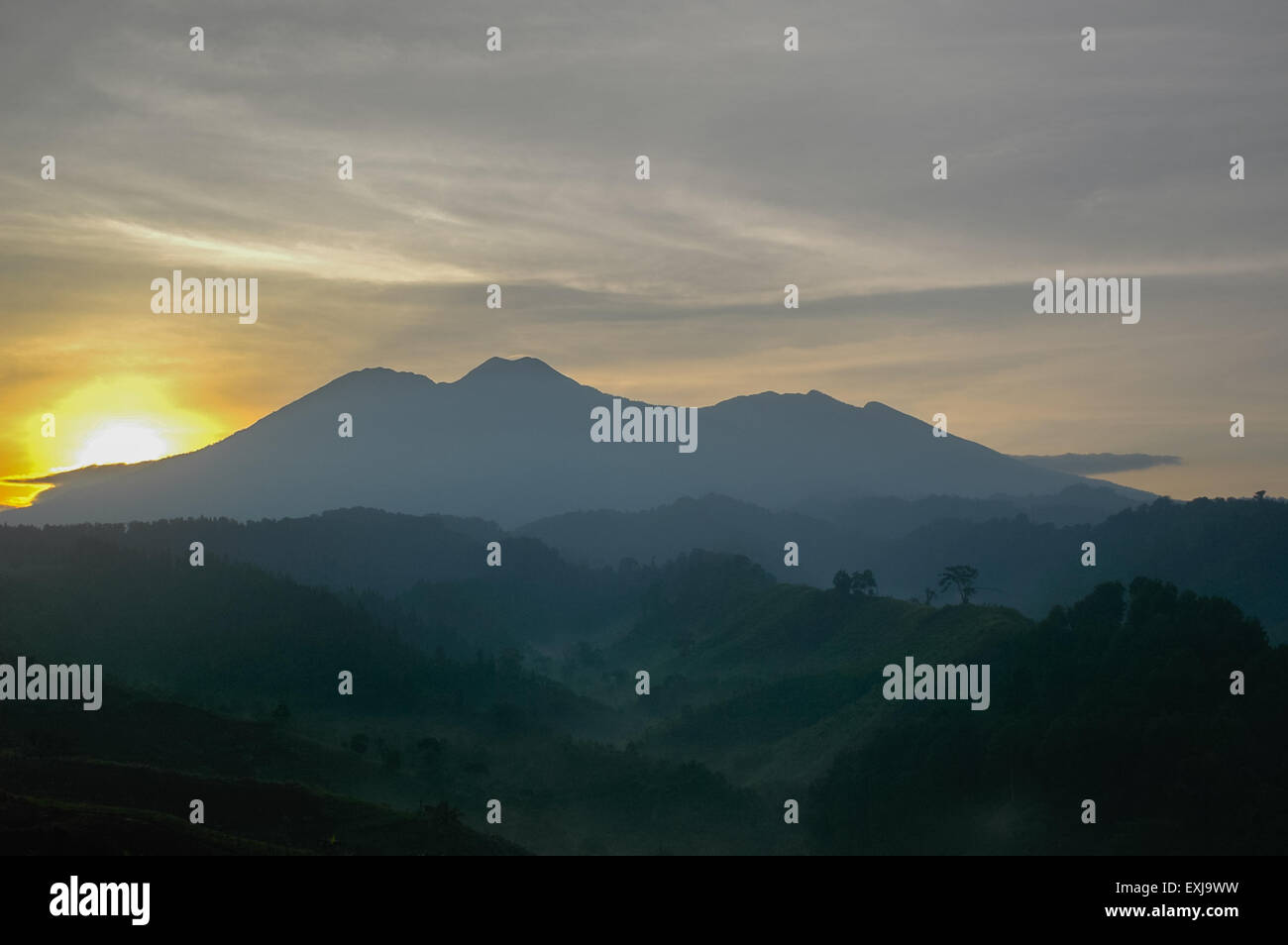 Geographical feature of Mount Pangrango (left) and Mount Gede (right) seen from Sukabumi Regency, West Java, Indonesia. - Stock Image