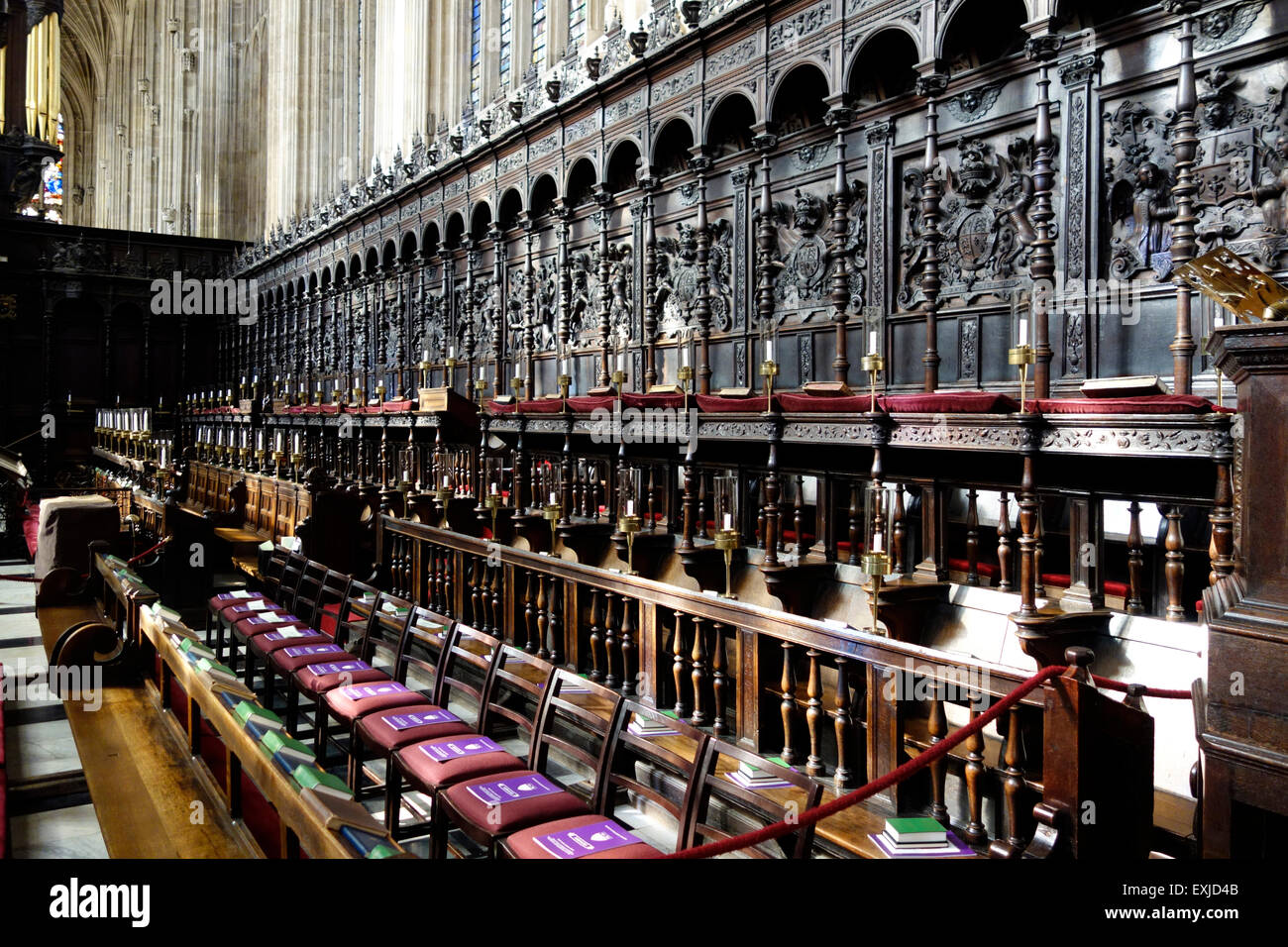 The stalls in the Choir of Kings College Chapel, Cambridge Stock Photo