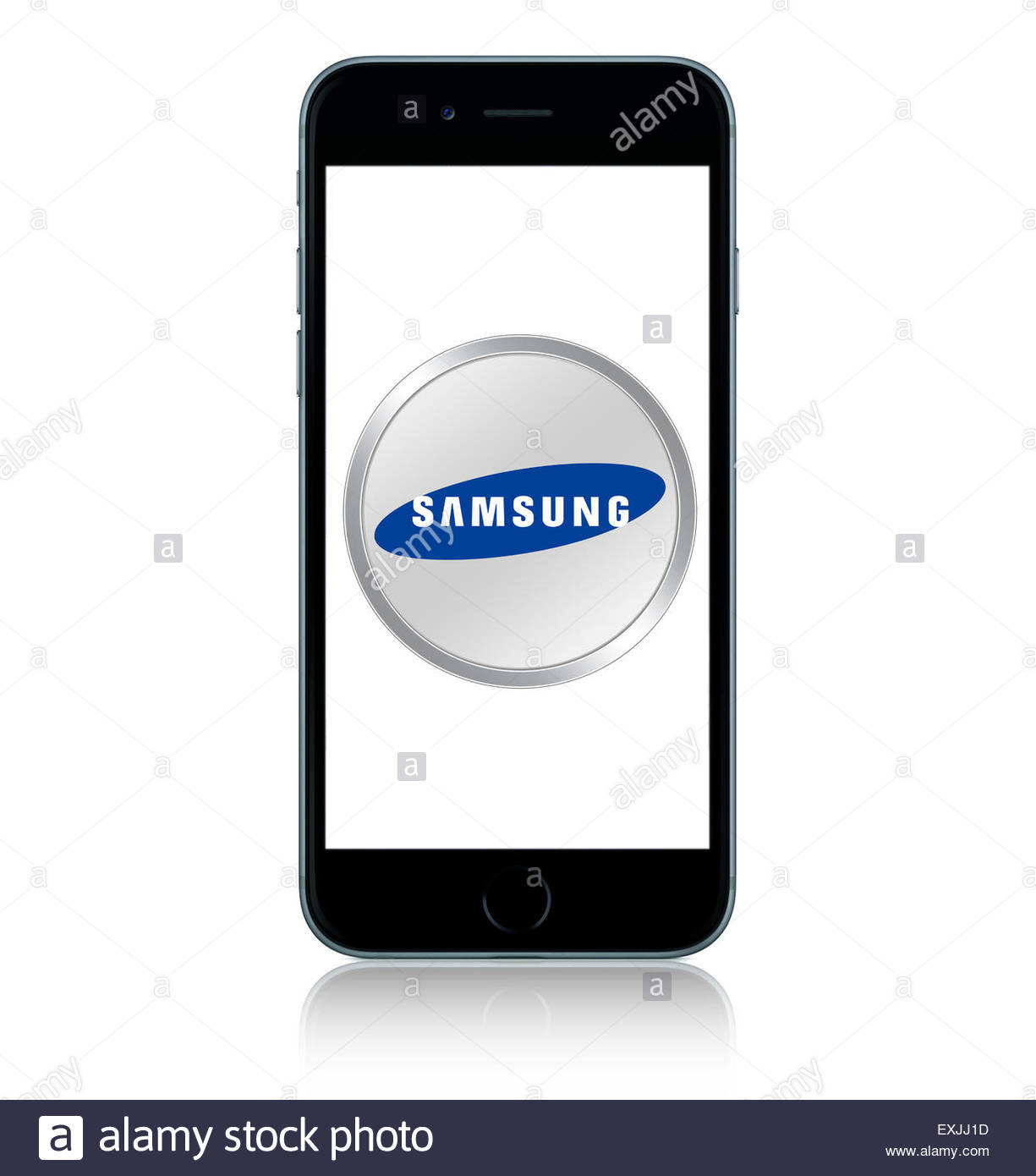 Apple Ihpone 6 with Samsung app icon logo - Stock Image