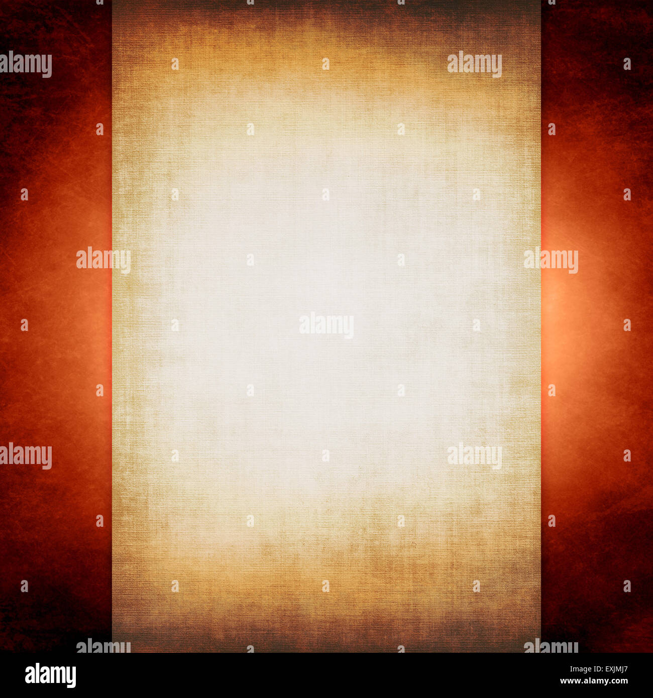 Old sheet of parchment paper, on rusty grunge background - Stock Image
