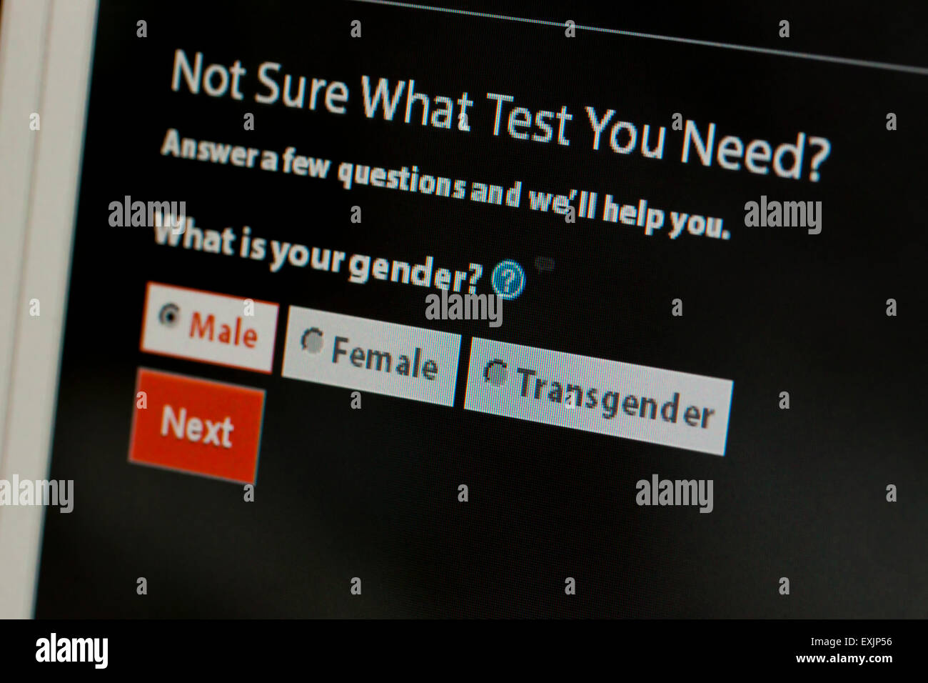 Gender selection of male, female, and transgender, on HIV / STD testing information on Centers for Disease Control - Stock Image