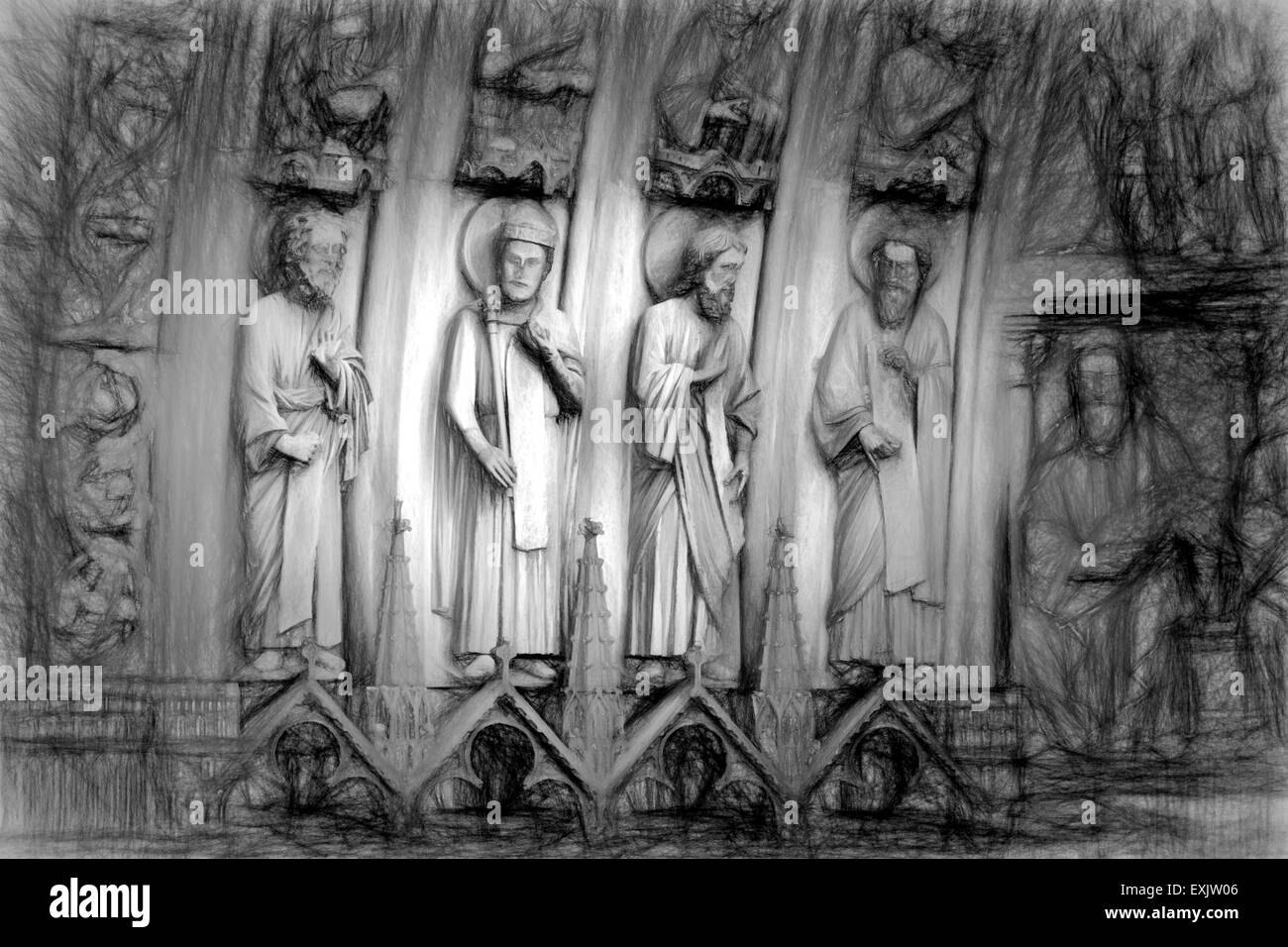 Black and white image of stone saints on the front of a cathedral - Stock Image