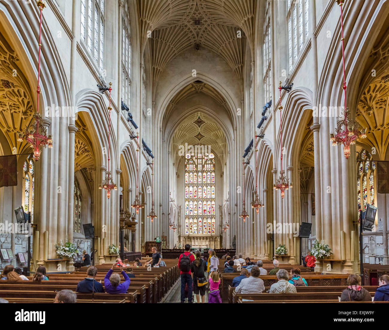 Interior of Bath Abbey, Bath, Somerset, England, UK - Stock Image