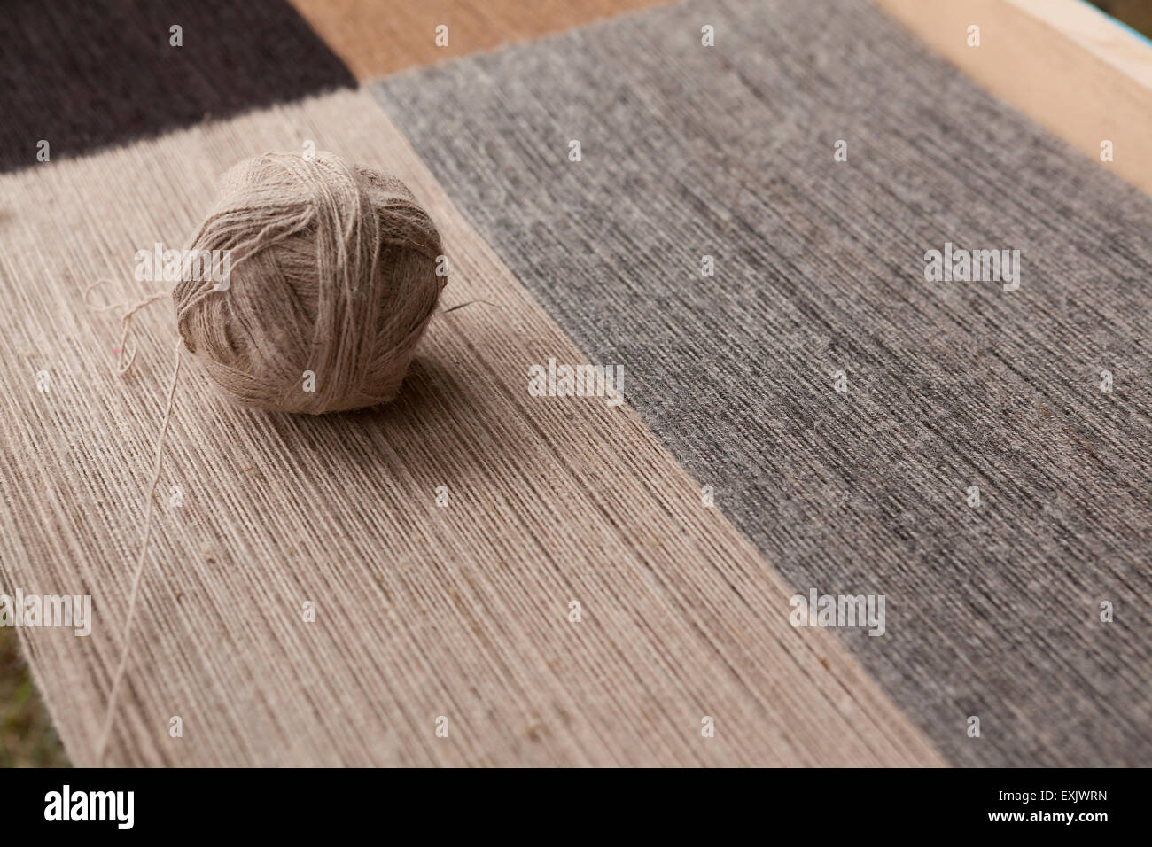 Wool yarn dyed with natural organic ingredients - Quechua people, Peru - Stock Image