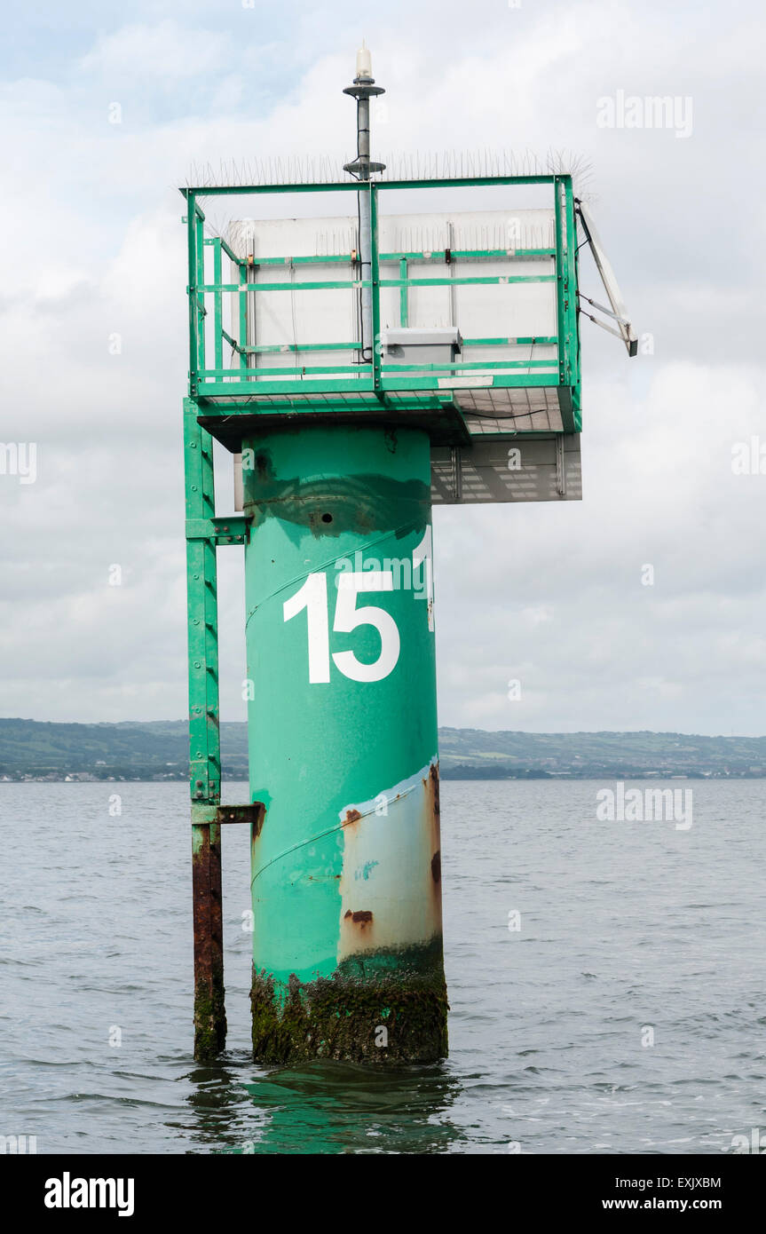 Green channel marker with the number 15 in Belfast Lough - Stock Image