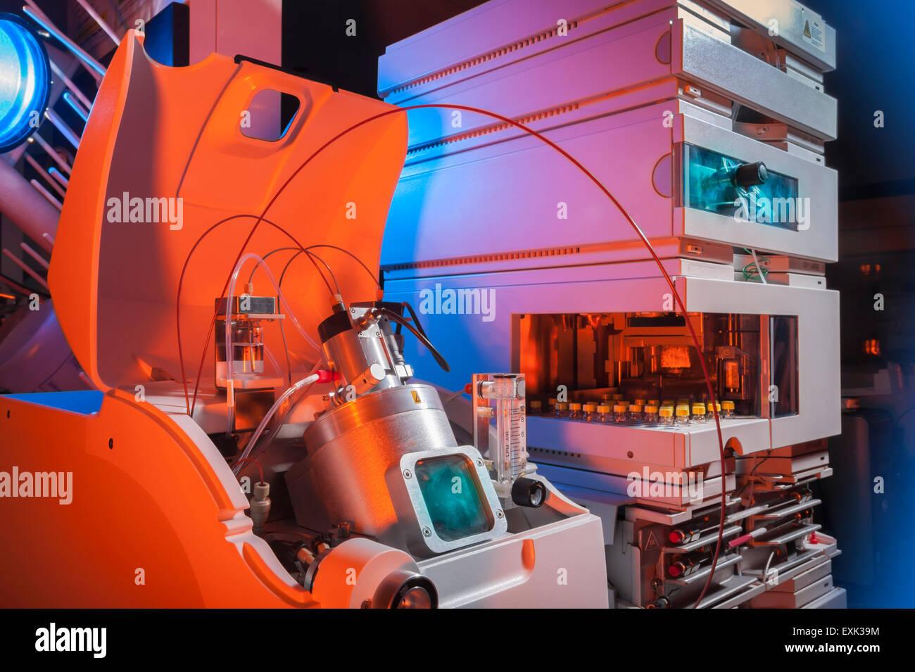 Biotechnology laboratory hardware equipment used to analyse various medical samples - Stock Image