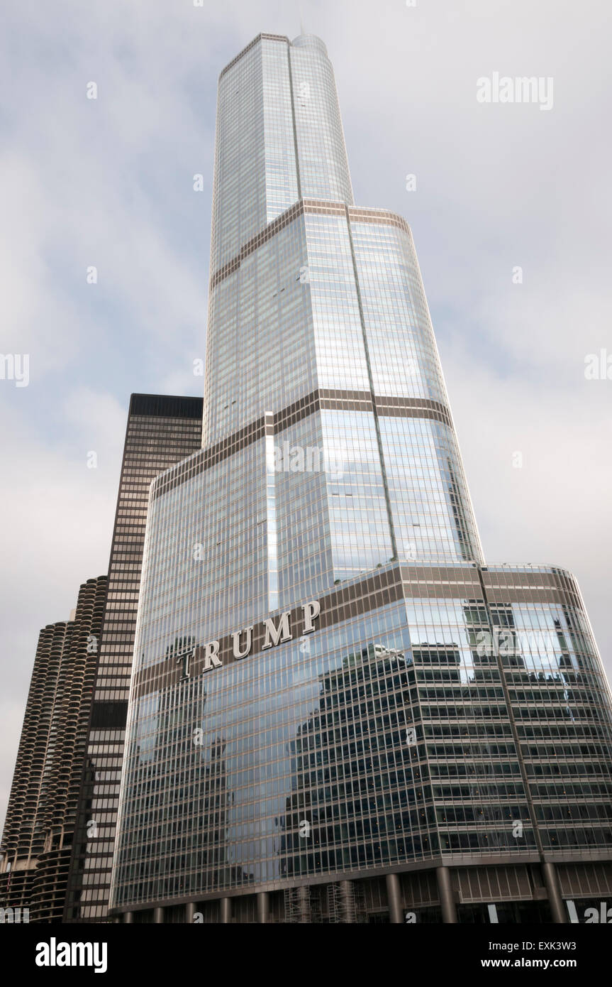 The Trump International Hotel and Tower on North Wabash Avenue in Chicago, USA. - Stock Image
