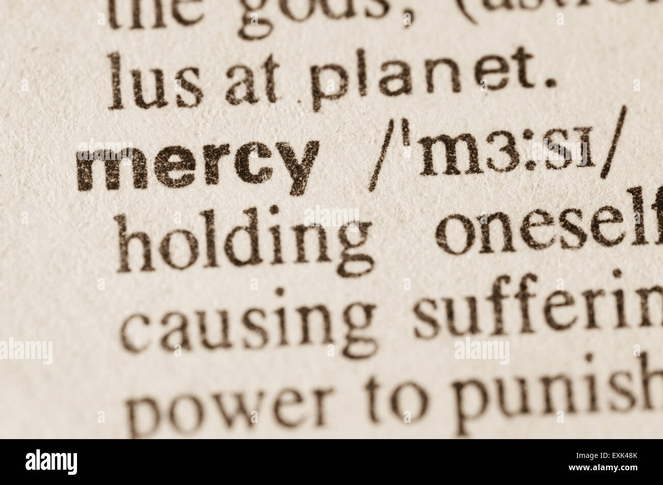 definition of word mercy in dictionary stock photo: 85242995 - alamy