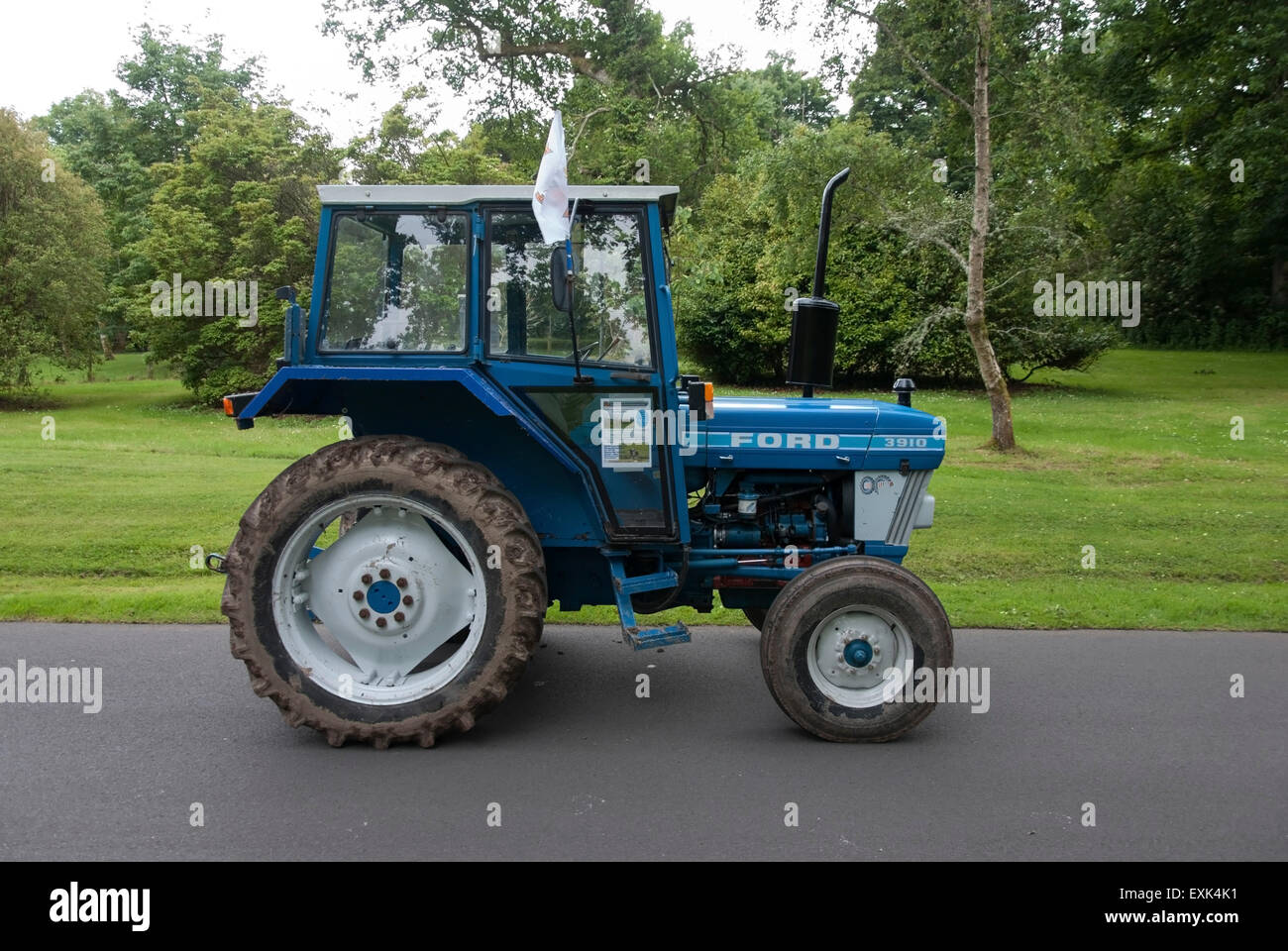 1984 Blue And White Ford 3910 Model Farm Tractor Stock Photo