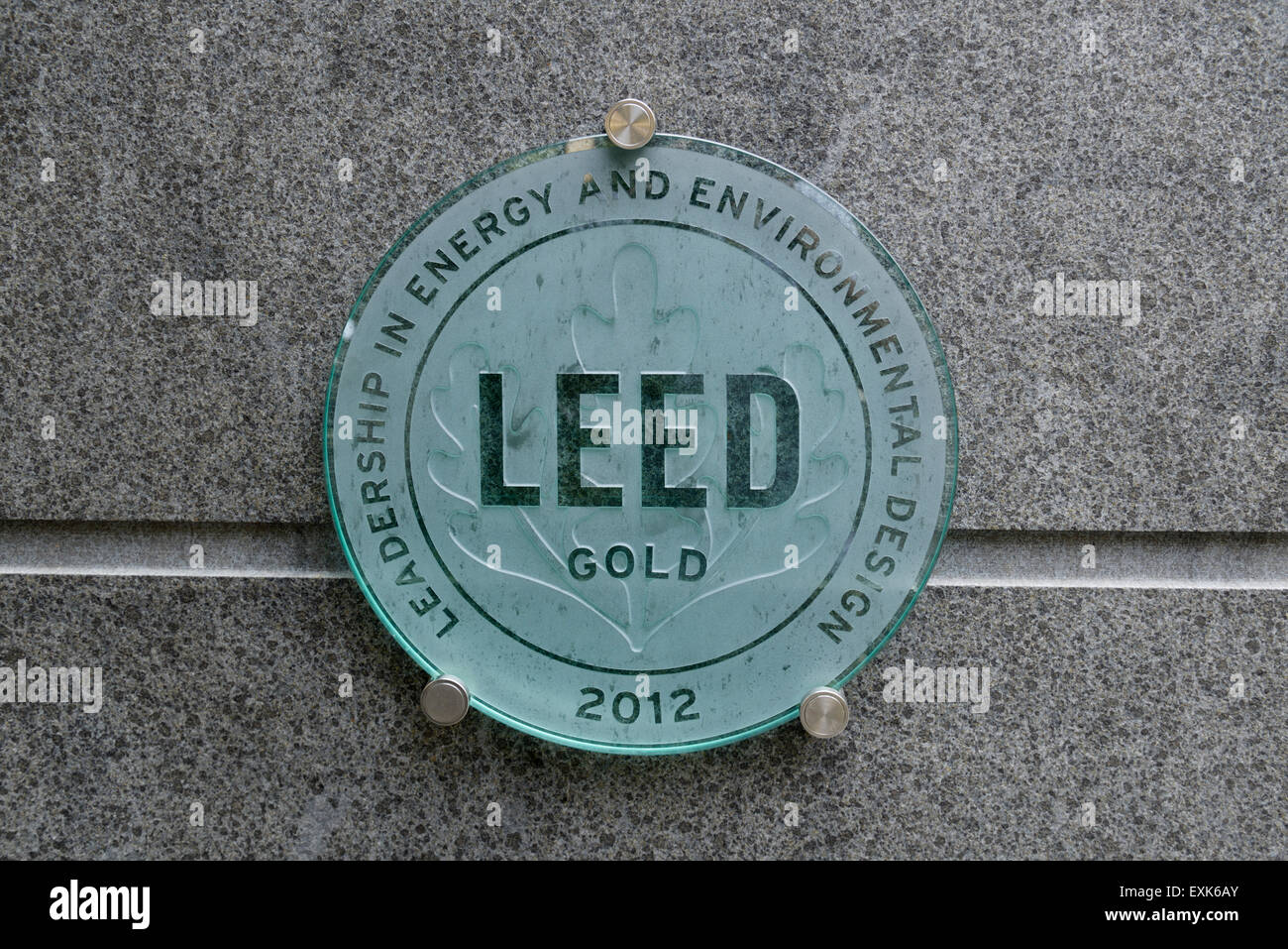 LEED Gold Rating Sign For Environmental Efficiency On Apartment Building In  NYC