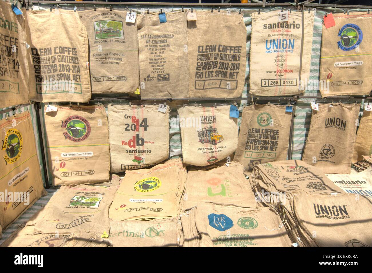 sacks  hessian sacks - Stock Image