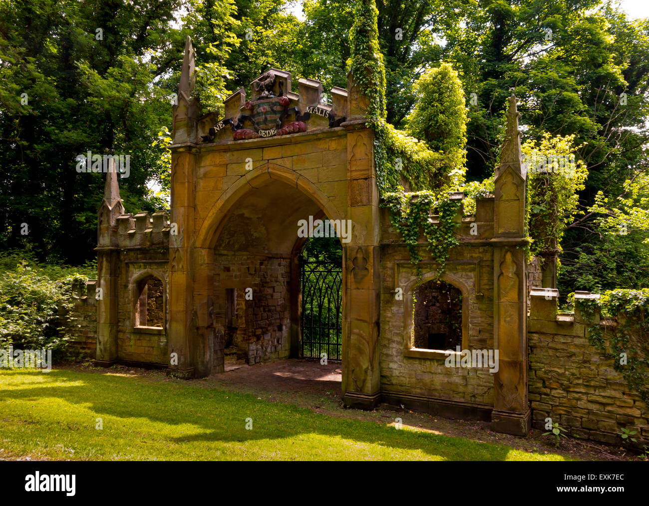 The Gothick Archway in the garden at Renishaw Hall Derbyshire England UK - Stock Image