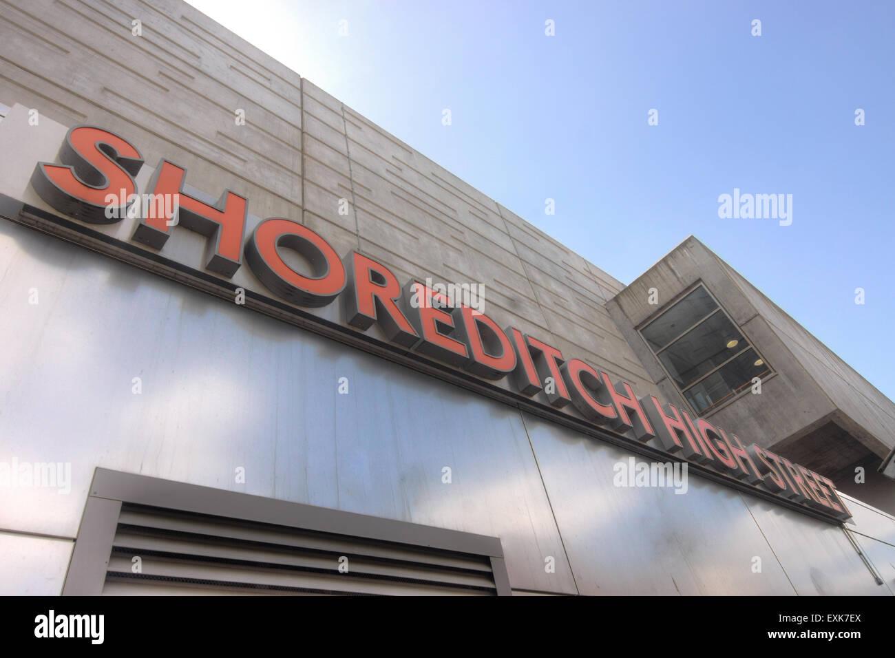 shoreditch station  overground  London transport - Stock Image