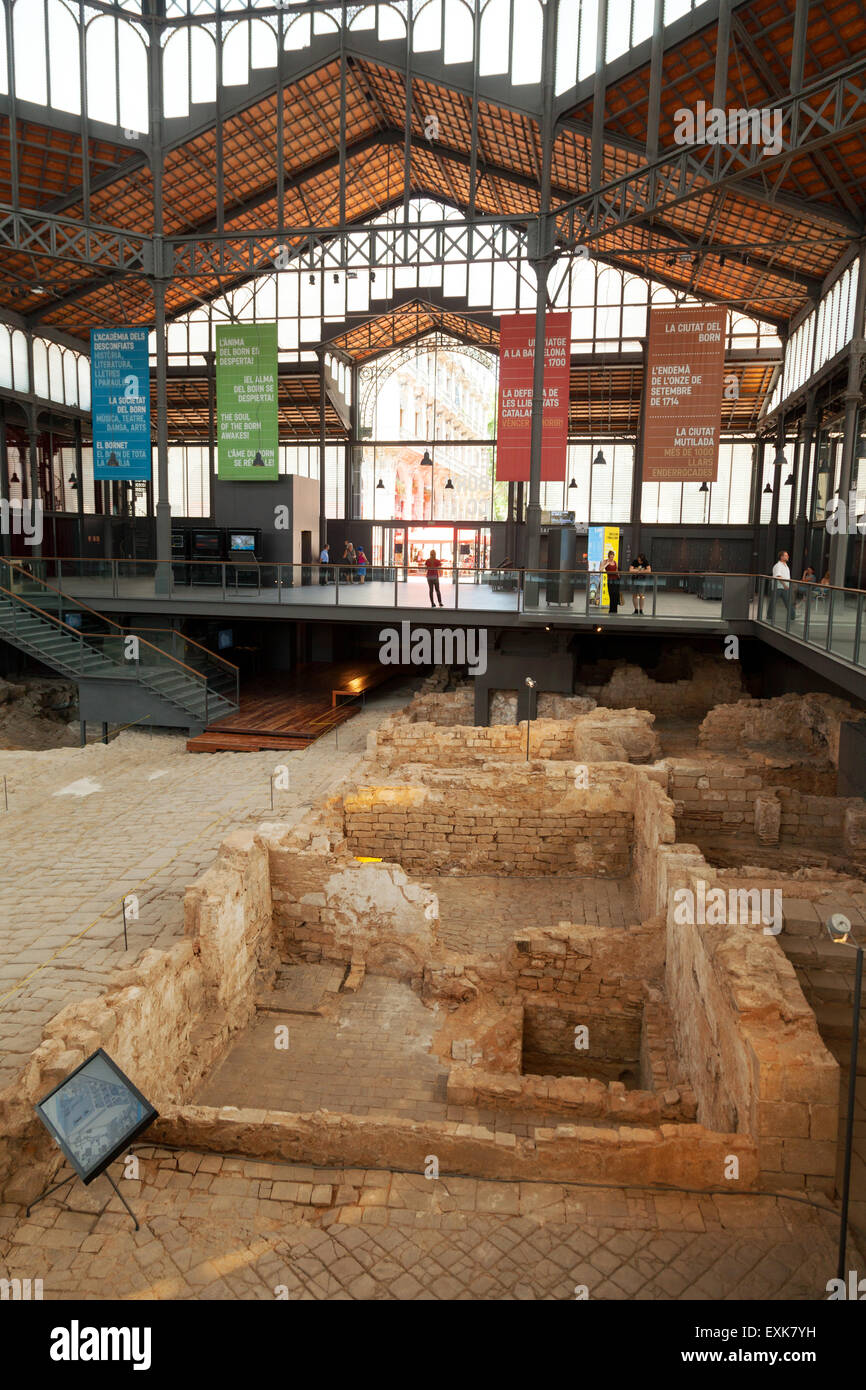 The excavations inside the El Born CC cultural centre, of 18th century Barcelona, Ribera district, Barcelona, Spain - Stock Image