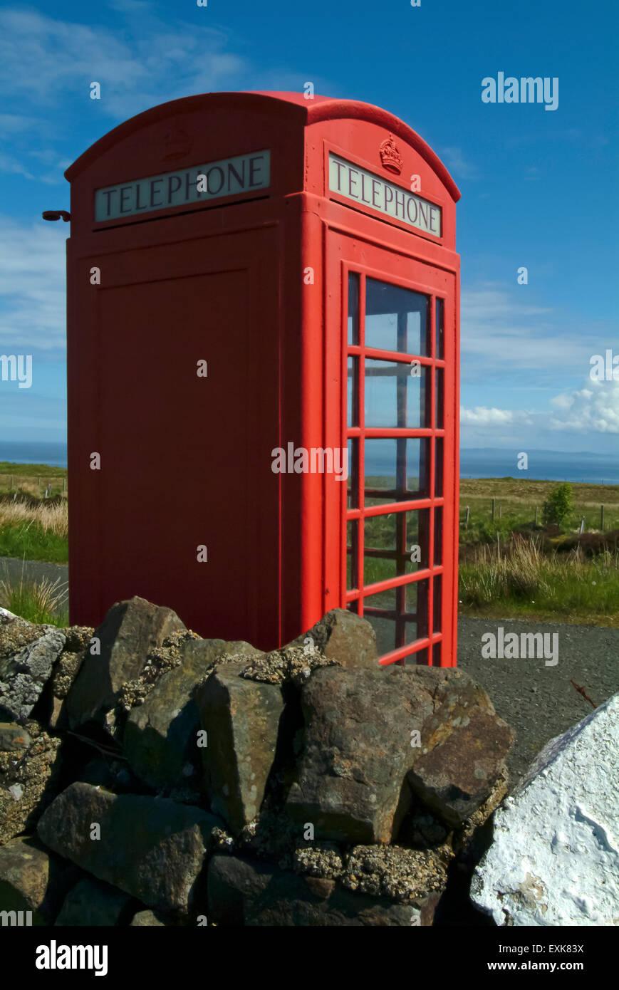 Telephone box in the country, isle of skye, scotland, UK, europe - Stock Image