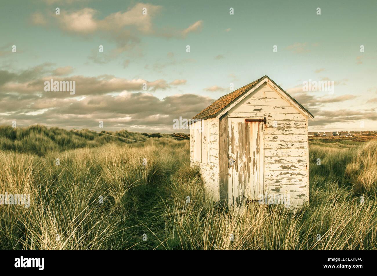 Beach Hut Findhorn Morayshire, Scotland, UK, Europe - Stock Image
