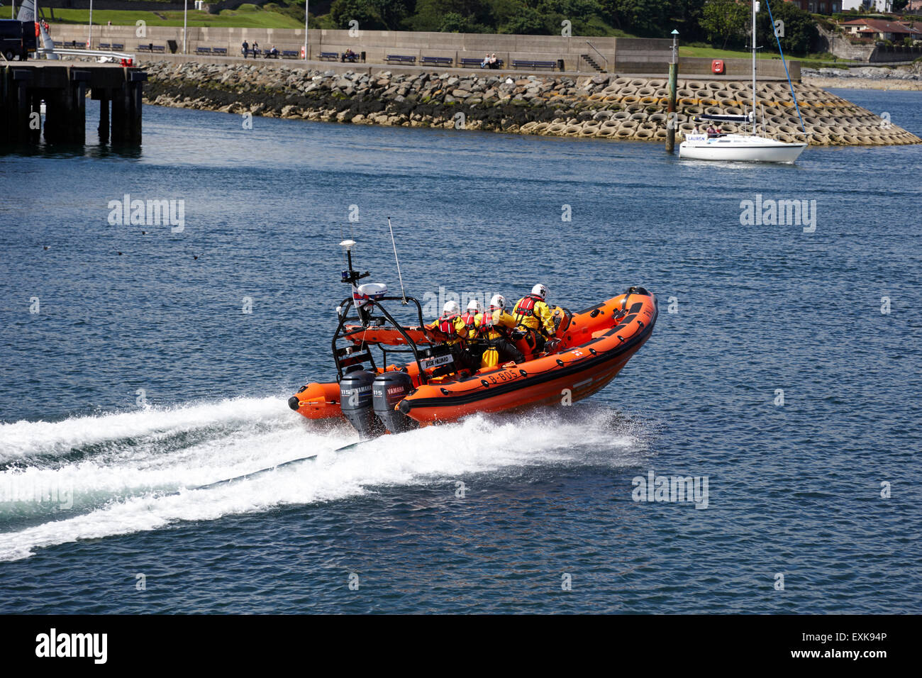 RNLI inshore lifeboat Jessie Hillyard responding to call Bangor harbour county down northern ireland uk Stock Photo
