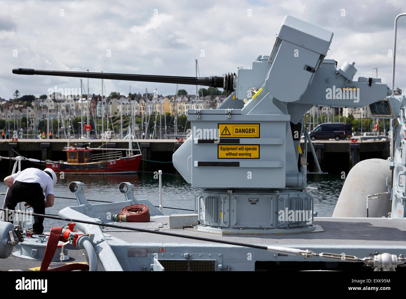 30mm DS30m mk2 ship protection automatic gun on board HMS Ramsey - Stock Image
