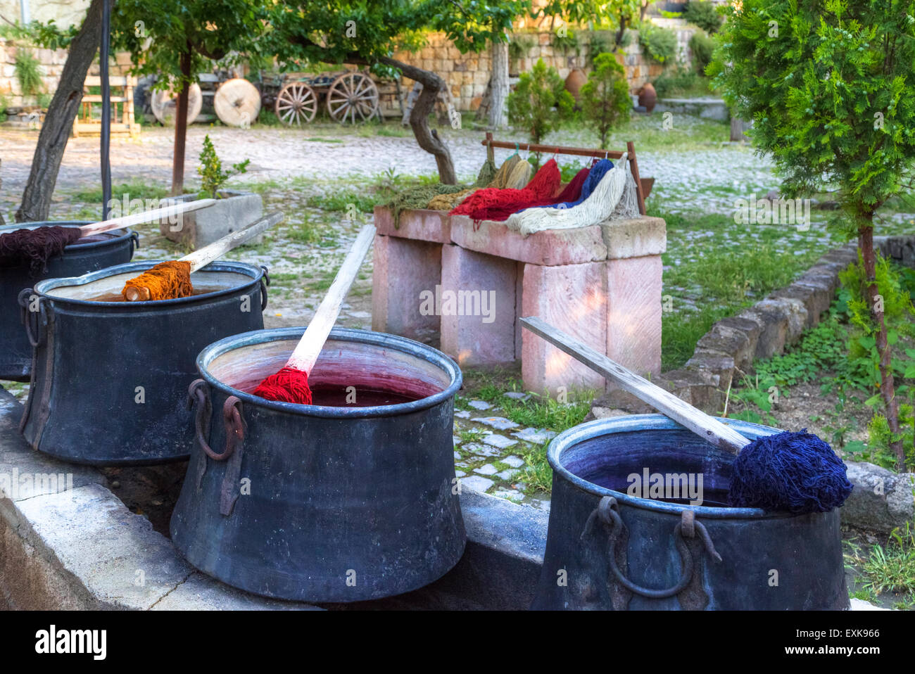 dyeing wool for Turkish carpets - Stock Image