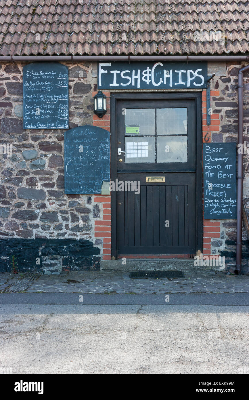 Traditional Fish and Chip Shop closed due to staff shortages at  Porlock Weir Harbour Somerset England United Kingdom - Stock Image