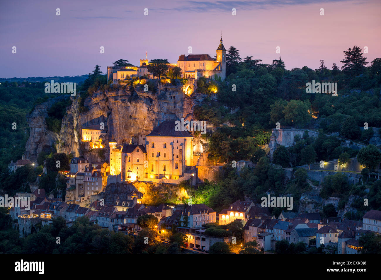 Twilight view over Medieval town of Rocamadour, Lot Department, Midi-Pyrenees, France Stock Photo