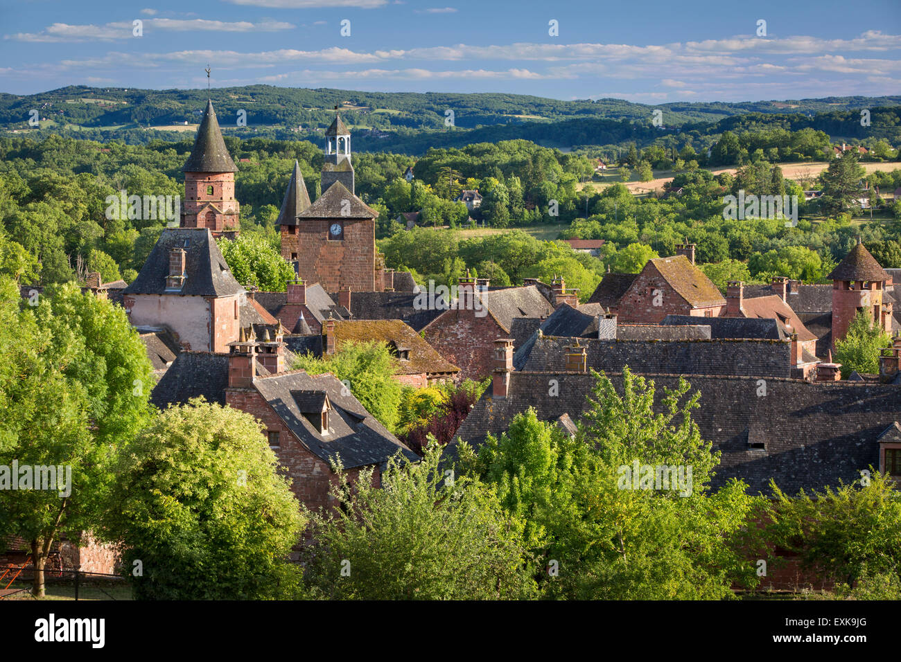 Evening sunlight over medieval town of Collonges-la-Rouge, in the ancient Department of Limousin, Correze, France - Stock Image