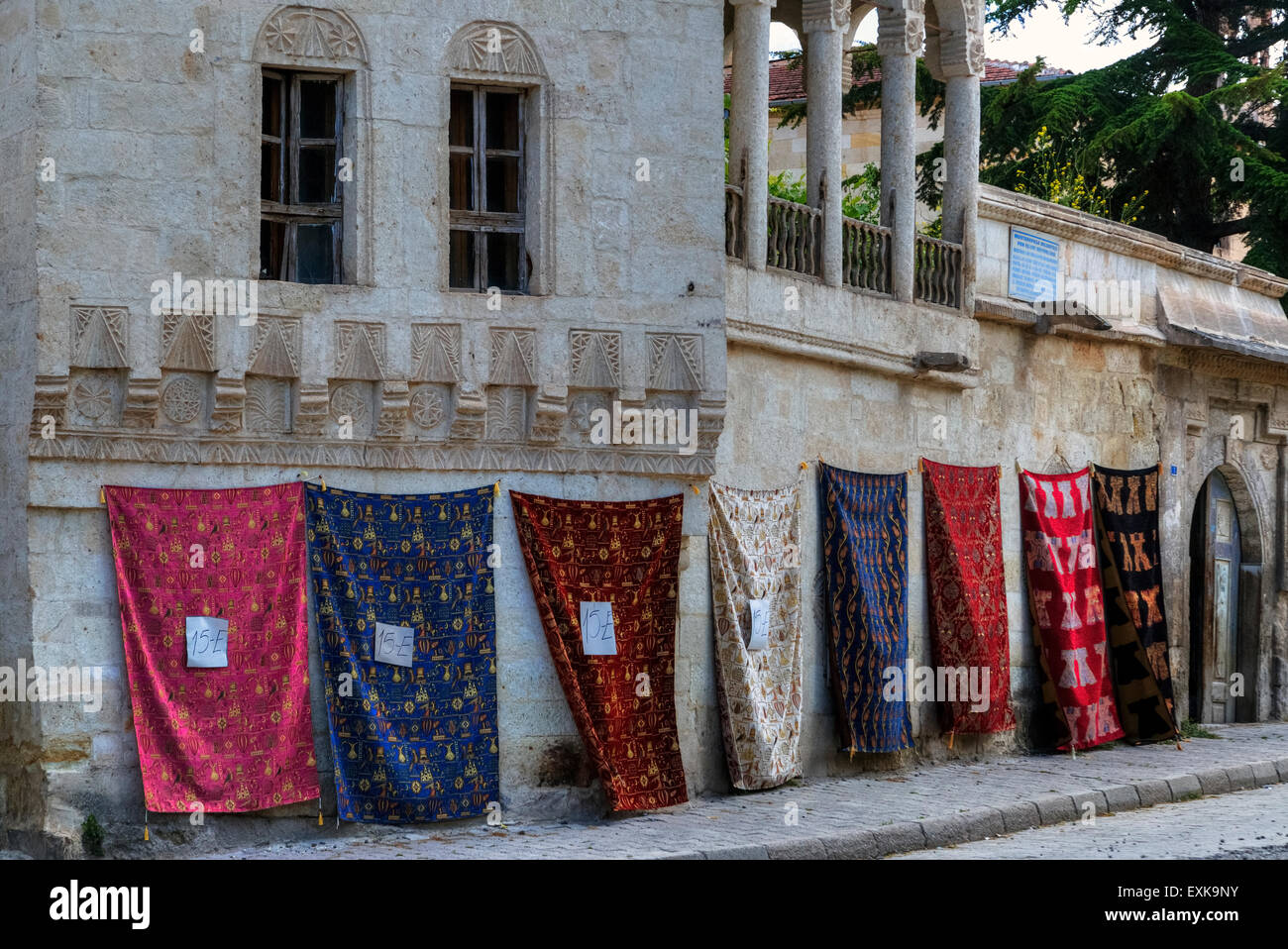 Turkish carpet shop in Mustafapasa, Cappadocia, Anatolia, Turkey - Stock Image