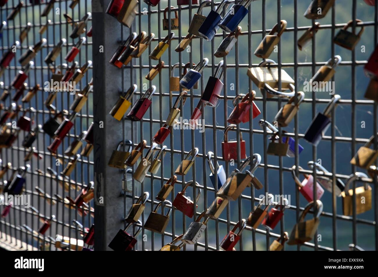 Love locks on bridge german europe - Stock Image