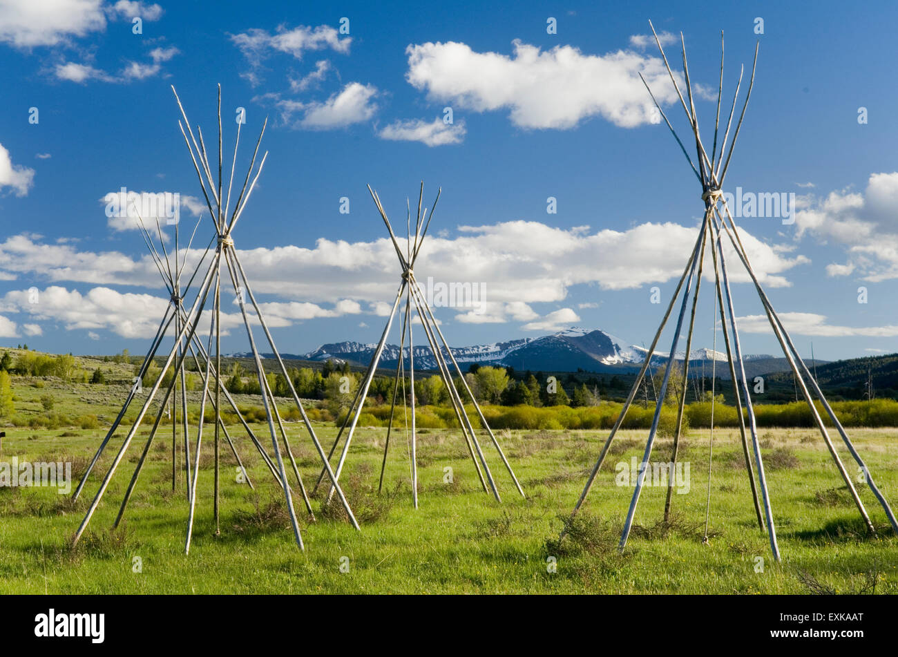 Tepee frames denoting and memorializing the Nez Perce camp at Big Hole National Battlefield Montana - Stock Image