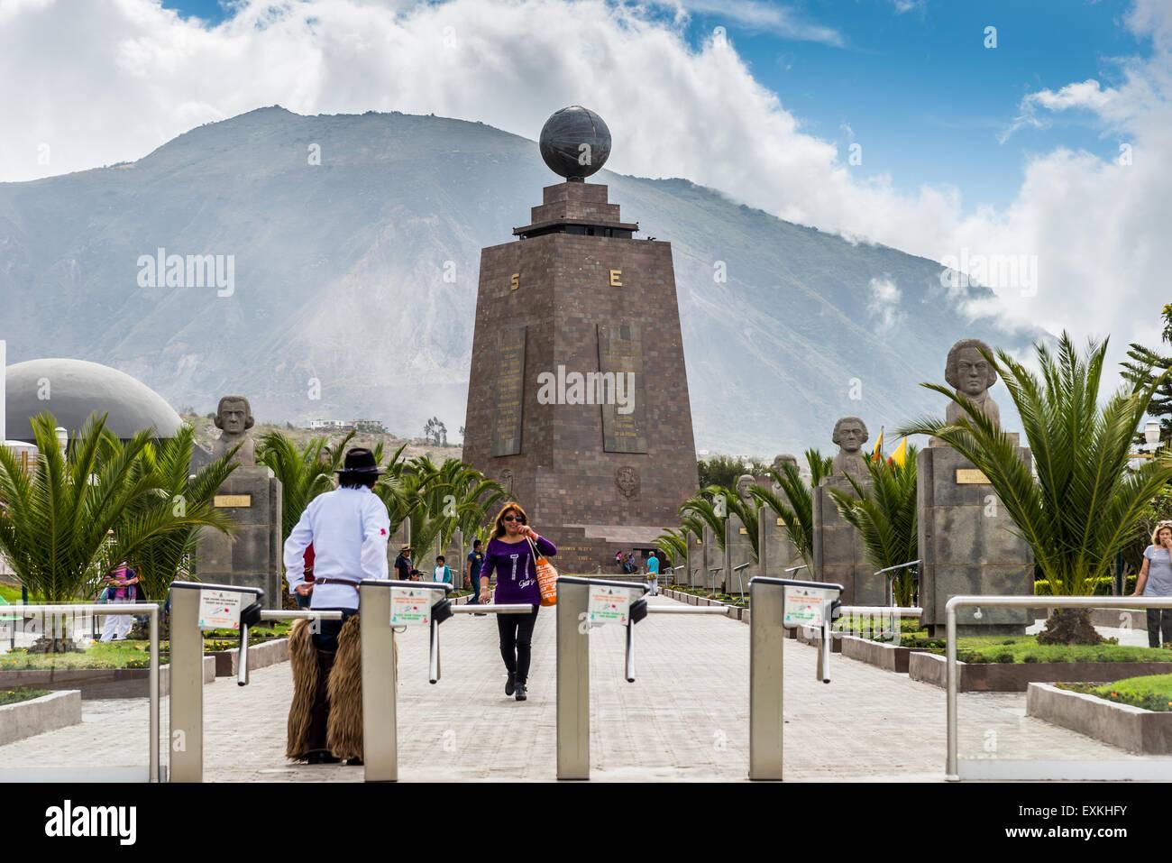 La Mitad del Mundo monument (Middle of the Earth) marks the equator. Quito, ecuador. - Stock Image